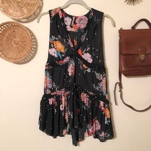 Free People Floral Black Purple Haze Peasant Tunic